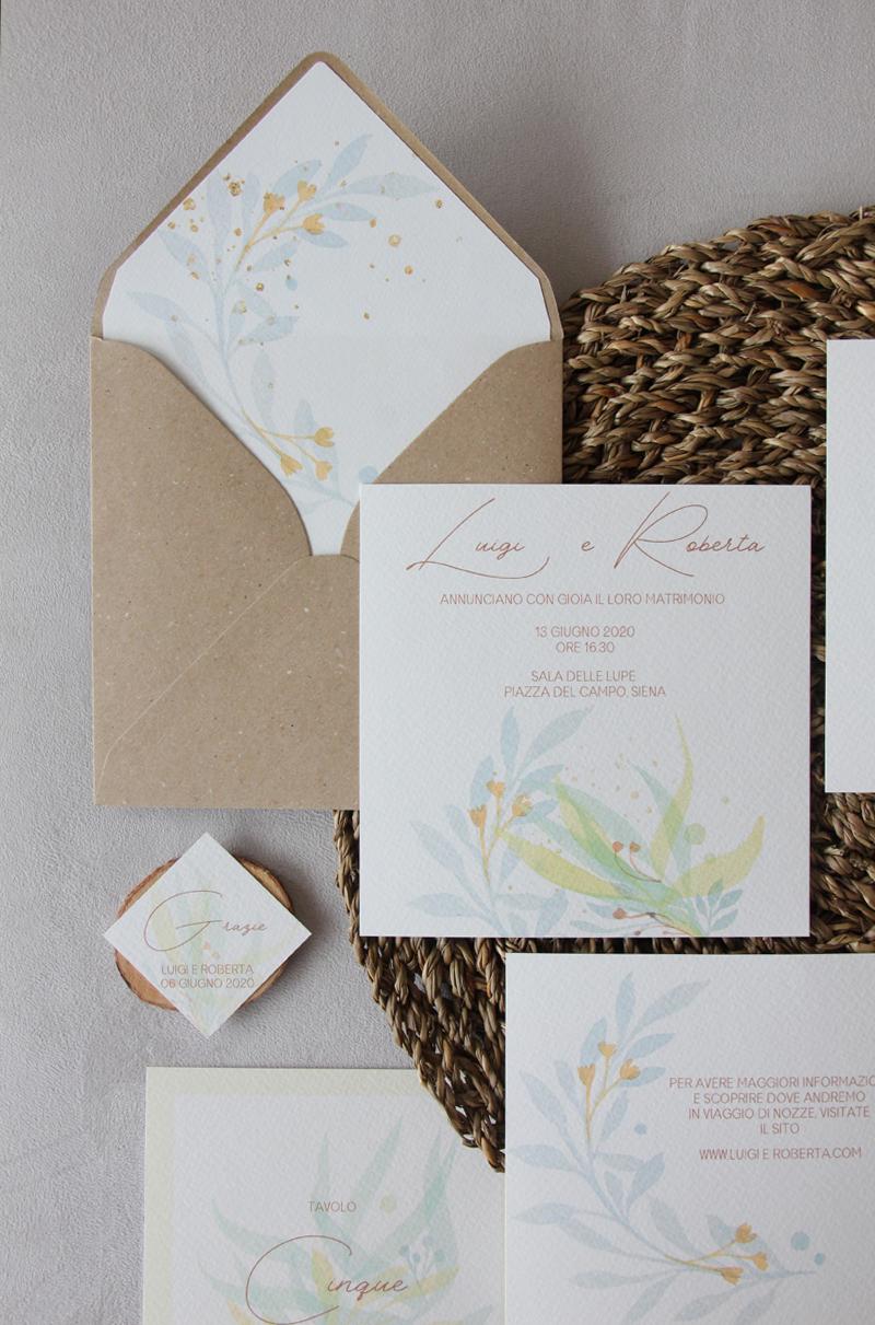 Watercolor Leaves – Greenery Romantic Wedding